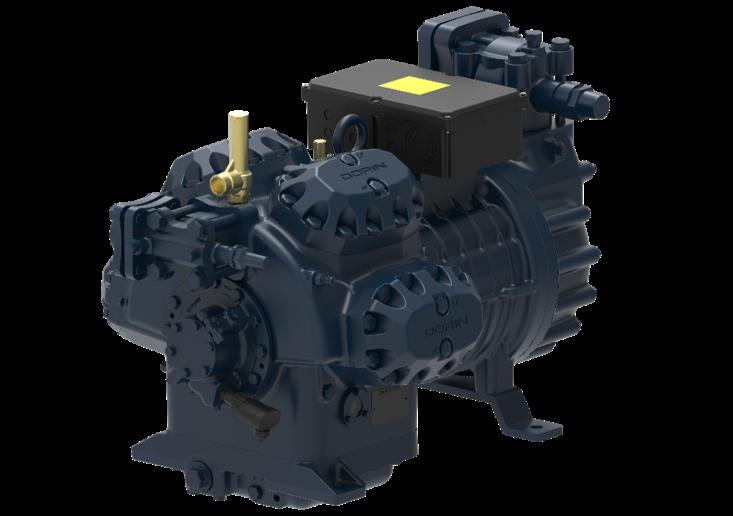 Figura 2. Gamma CDS7 per CO2 subcritica, 4 modelli da 91 m3/h a 123 m3/h. Il modello CDS90001B, il più grande della gamma, lavorando @-35°C / -5°C riesce a fornire quasi 220 kW di capacità frigorifera all'evaporatore.